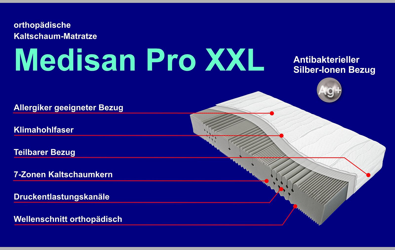 7 Zonen Kaltschaummatratze Medisan Pro XXL orthopädisch 140x200cm 27cm hoch H2