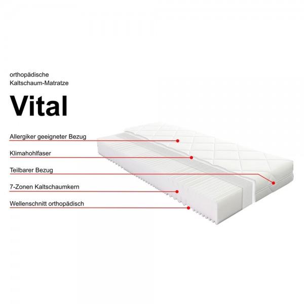 Kaltschaummatratze VITAL, 7 Zonen, preiswerte Allroundmatratze, 7 Zonen