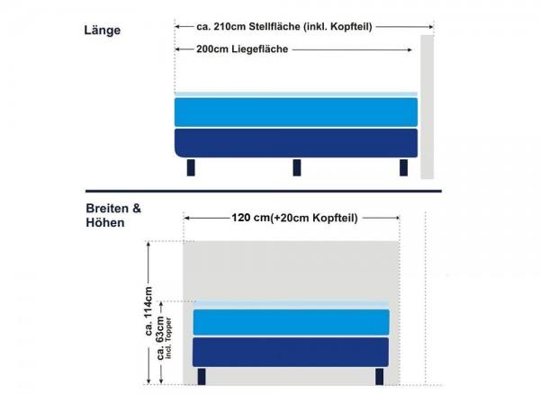 Boxspringbett Florenz 120x200cm, mit Topper - Schema
