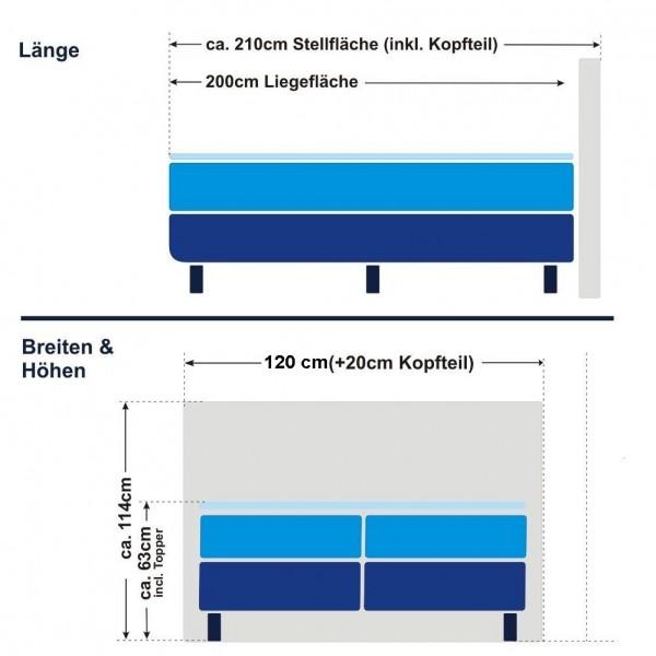 Boxspringbett Oslo 120x200cm, Härtegrad H3/H5 - Schema