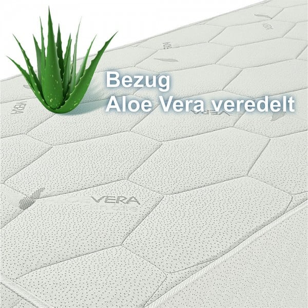 Federkernmatratze SMARAGD,  90x190cm, extra fest, H5, 27cm hoch, Aloe Vera