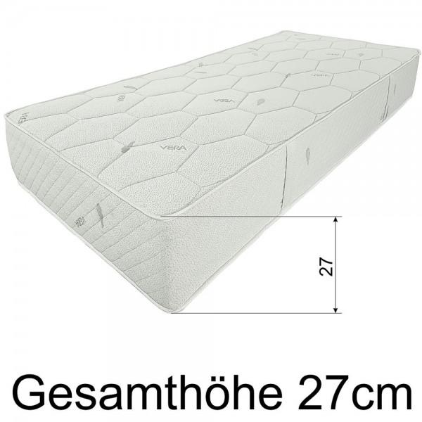 Federkernmatratze SMARAGD,  90x220cm, Sondergöße, extra fest, H5, 27cm hoch, Hoehe