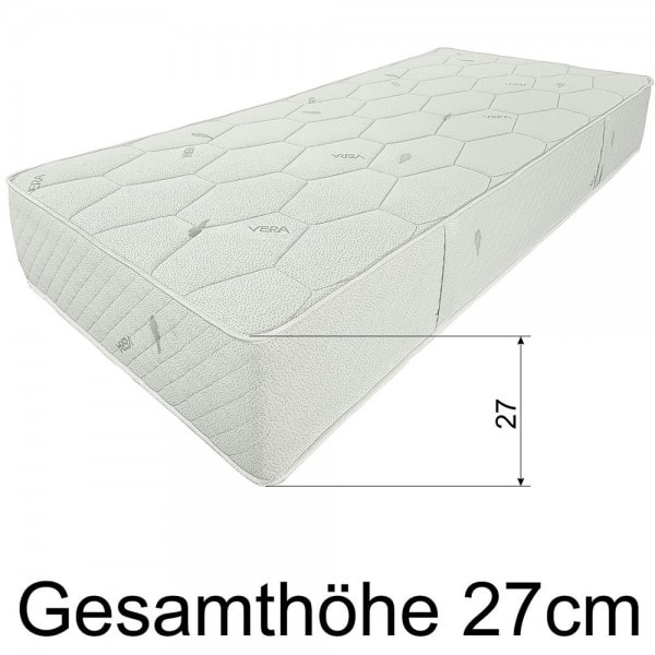 Federkernmatratze SMARAGD, 150x200cm, extra fest, H5, 27cm hoch, Hoehe