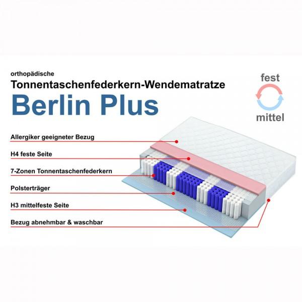 Taschenfederkernmatratze Berlin Plus, Wendematratze 100x200cm, Härtegrade 3 und 4, features