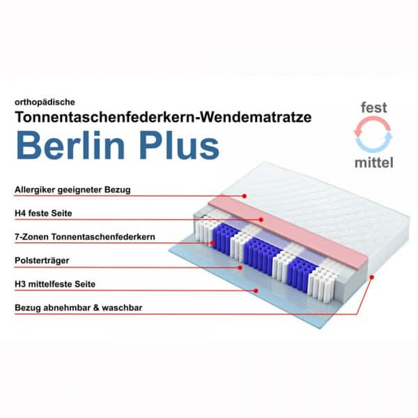 Taschenfederkernmatratze Berlin Plus, Wendematratze 140x200cm, Härtegrade 3 und 4, features