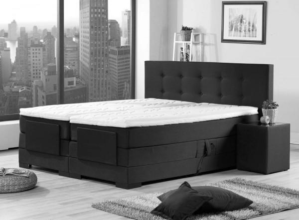 Elektrisches Boxspringbett Venedig, 180x200cm, Stoff, 2xH3,schwarz – Produktbild