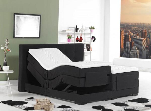 Boxspringbett Venedig - elektrisch verstellbar, 180cm, Härtegrad H3/H3 , Bezug: Stoff, schwarz