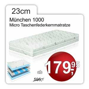 23cm hohe Taschenfederkernmatratze München mit 1000 Federn